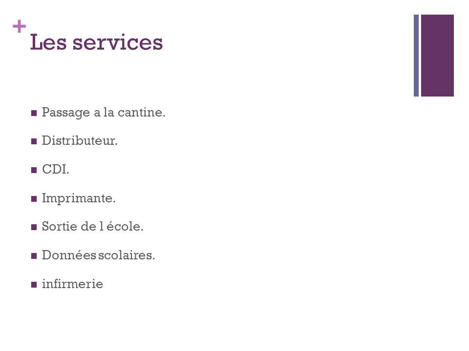+ Les services Passage a la cantine.Distributeur.