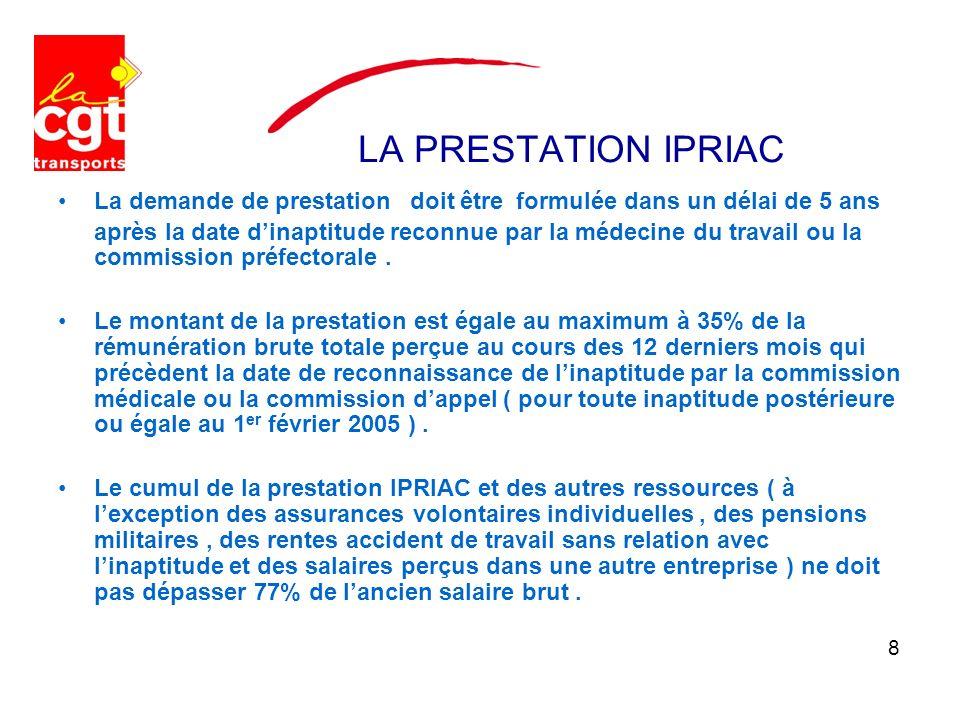 LA PRESTATION IPRIAC La demande de prestation doit être formulée dans un délai de 5 ans après la date dinaptitude reconnue par la médecine du travail ou la commission préfectorale.