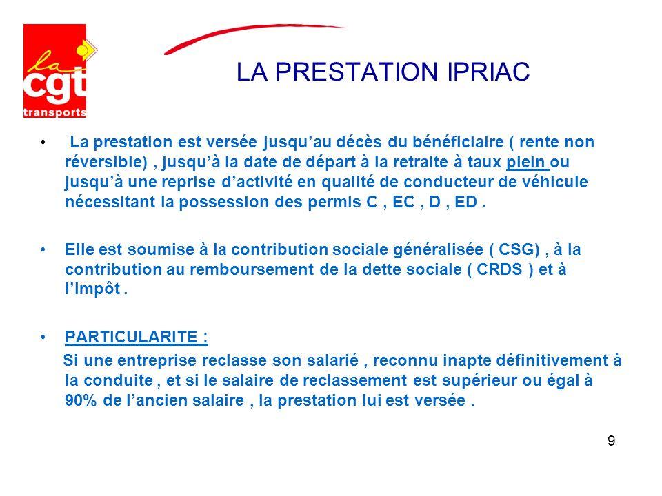 LA PRESTATION IPRIAC La prestation est versée jusquau décès du bénéficiaire ( rente non réversible), jusquà la date de départ à la retraite à taux ple