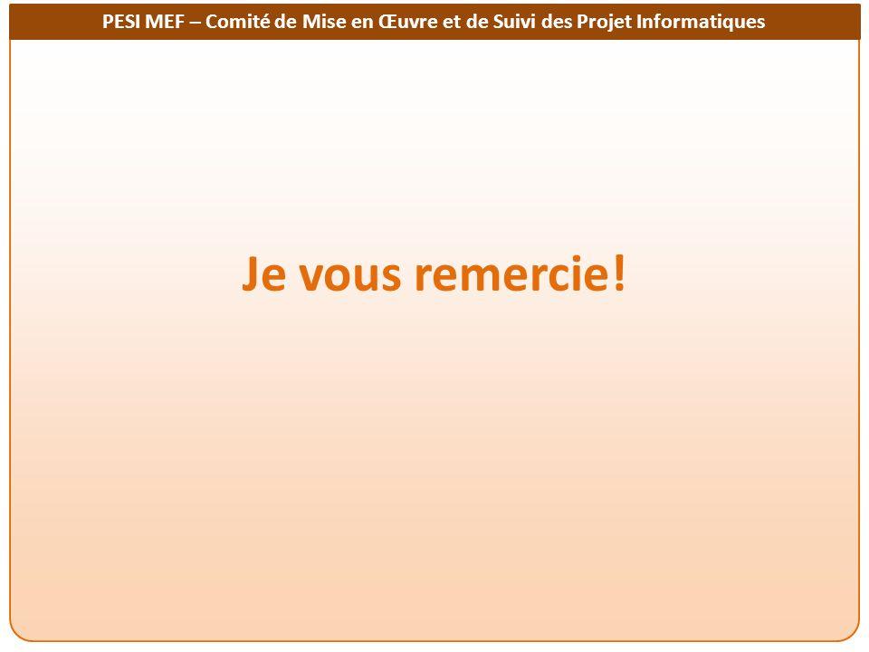 PESI MEF – Comité de Mise en Œuvre et de Suivi des Projet Informatiques Je vous remercie!