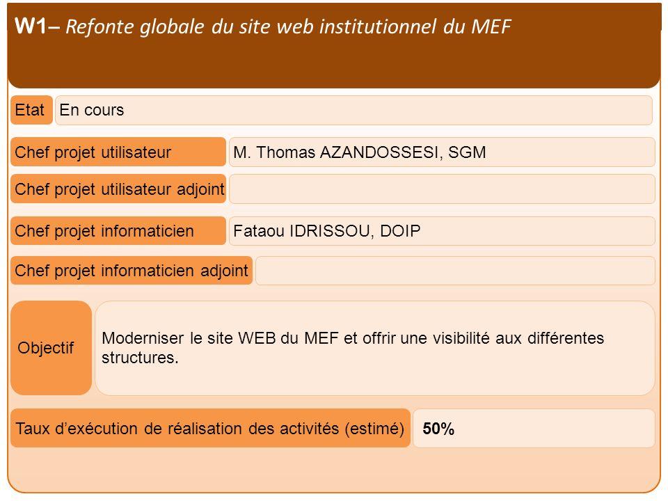 PESI MEF – Comité de Mise en Œuvre et de Suivi des Projet Informatiques W1– Refonte globale du site web institutionnel du MEF Etat En cours Chef projet utilisateur M.