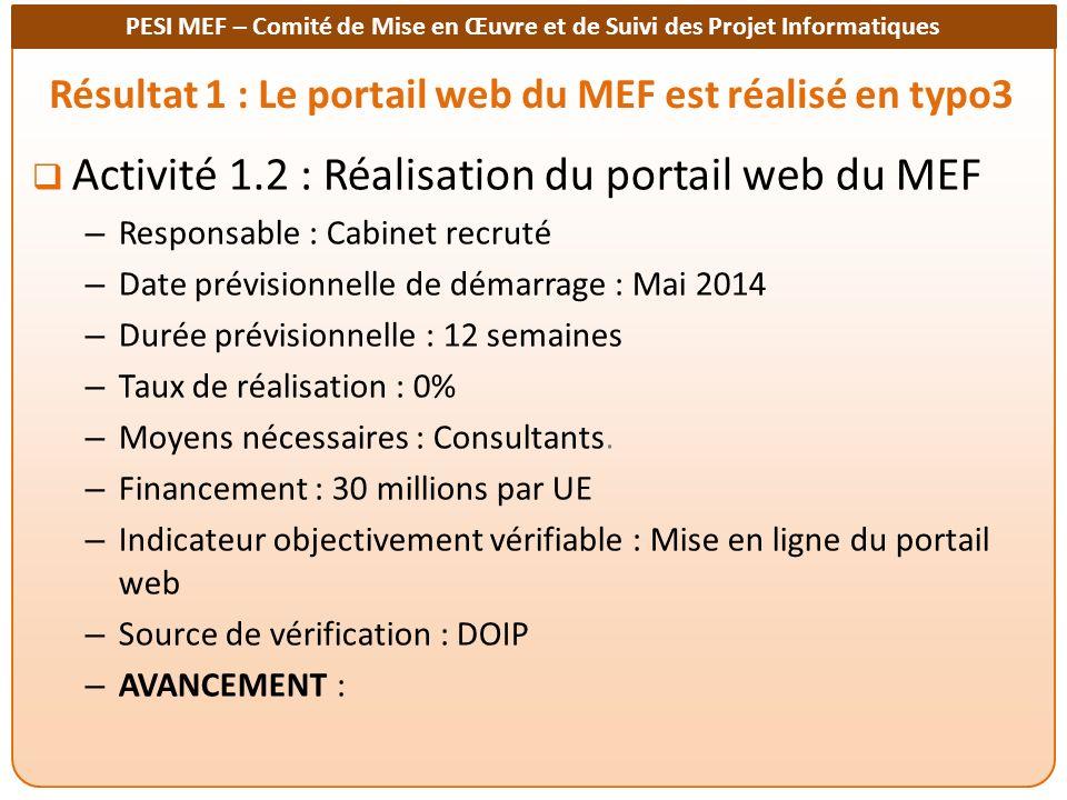 PESI MEF – Comité de Mise en Œuvre et de Suivi des Projet Informatiques Résultat 1 : Le portail web du MEF est réalisé en typo3 Activité 1.2 : Réalisa