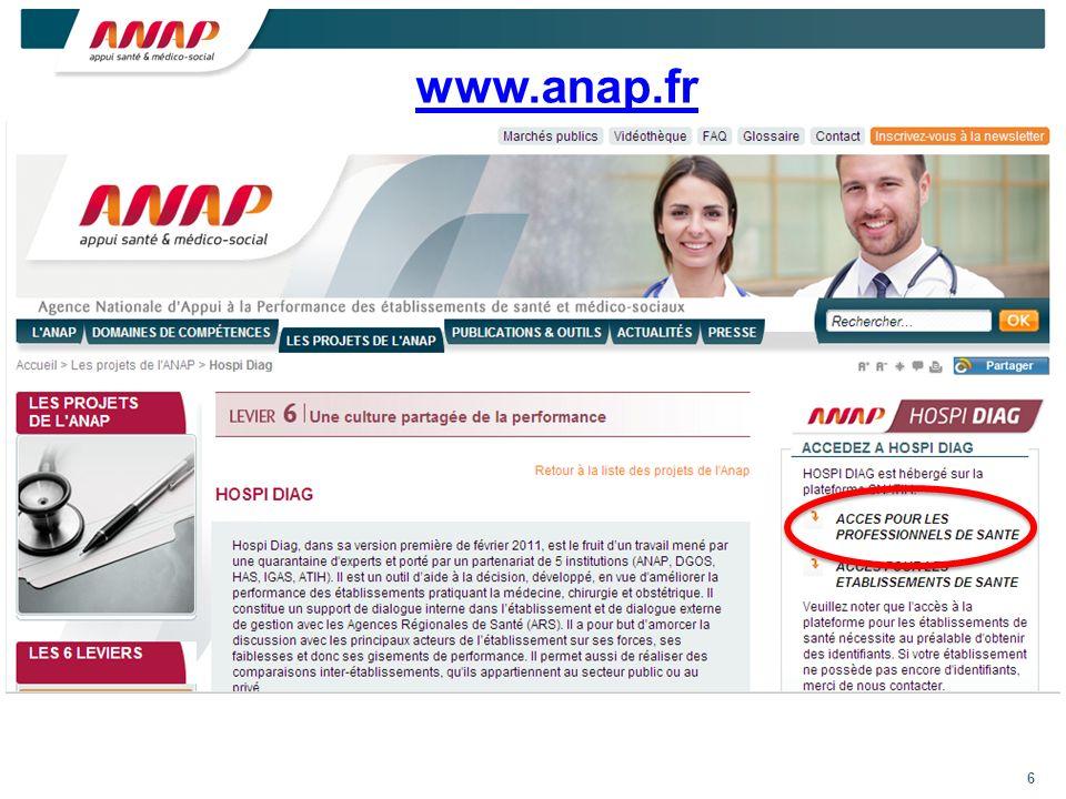 6 Click en haut et à droite sur accès aux PS Click en haut et à droite sur accès aux PS www.anap.fr