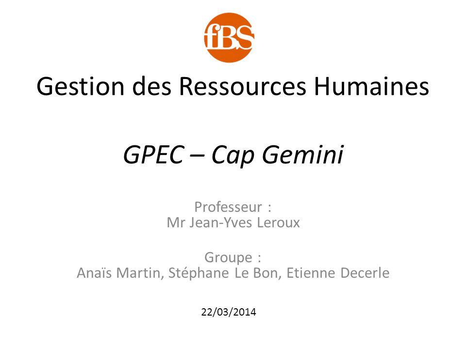 Gestion des Ressources Humaines GPEC – Cap Gemini Professeur : Mr Jean-Yves Leroux Groupe : Anaïs Martin, Stéphane Le Bon, Etienne Decerle 22/03/2014