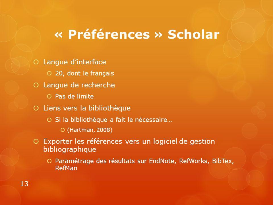 « Préférences » Scholar Langue dinterface 20, dont le français Langue de recherche Pas de limite Liens vers la bibliothèque Si la bibliothèque a fait