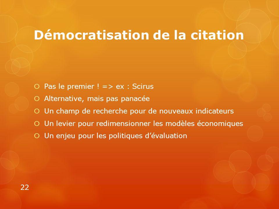 Démocratisation de la citation Pas le premier ! => ex : Scirus Alternative, mais pas panacée Un champ de recherche pour de nouveaux indicateurs Un lev