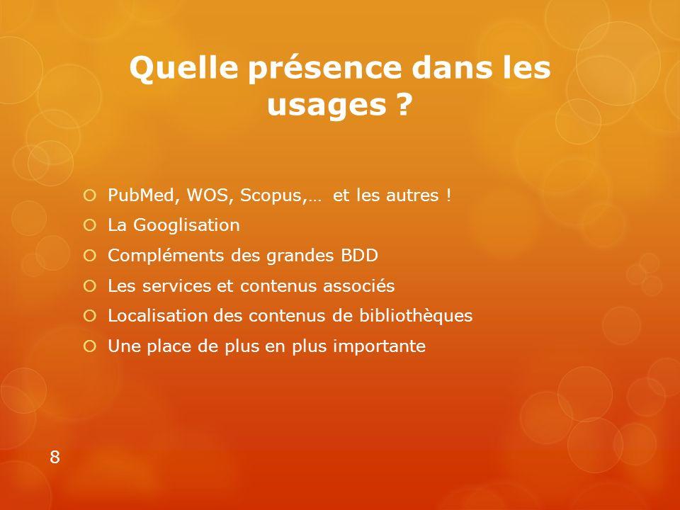 Quelle présence dans les usages ? PubMed, WOS, Scopus,… et les autres ! La Googlisation Compléments des grandes BDD Les services et contenus associés