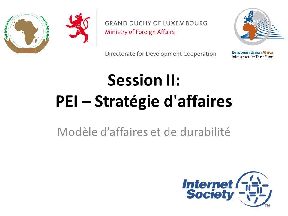 Session II: PEI – Stratégie d affaires Modèle daffaires et de durabilité
