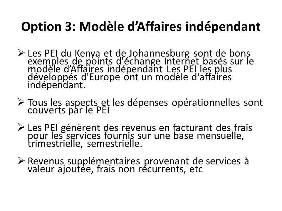 Option 3: Modèle dAffaires indépendant Les PEI du Kenya et de Johannesburg sont de bons exemples de points d échange Internet basés sur le modèle dAffaires indépendant Les PEI les plus développés d Europe ont un modèle d affaires indépendant.