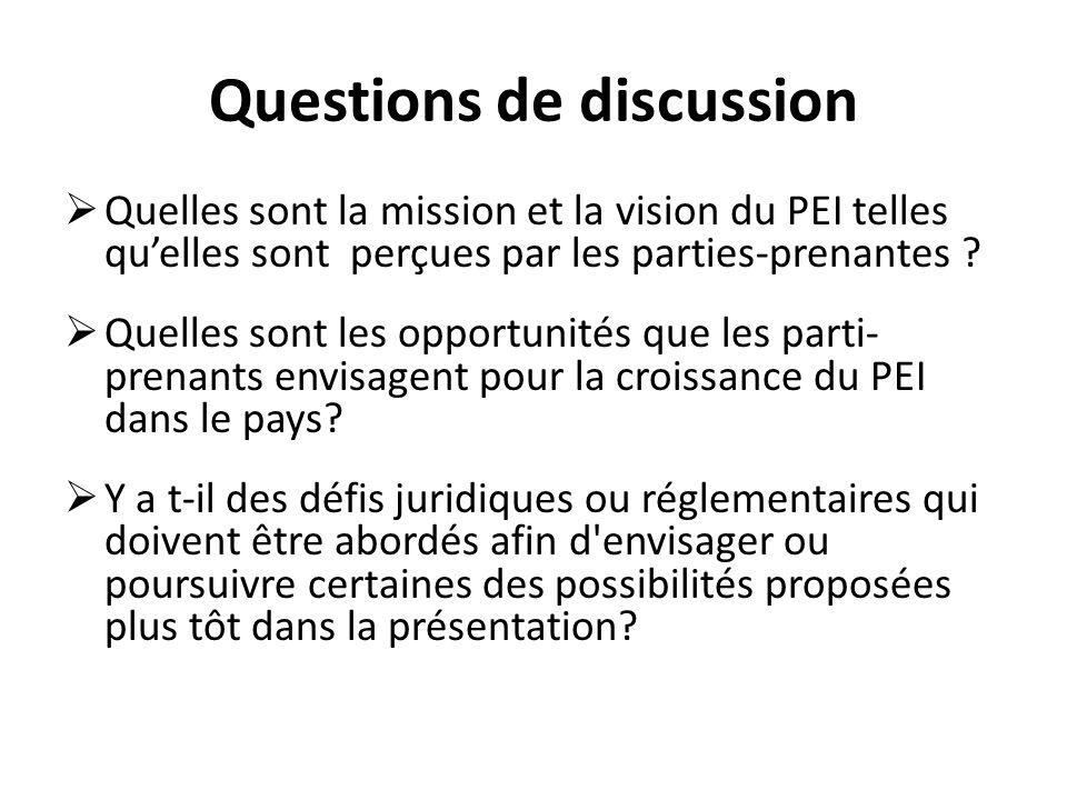 Questions de discussion Quelles sont la mission et la vision du PEI telles quelles sont perçues par les parties-prenantes .