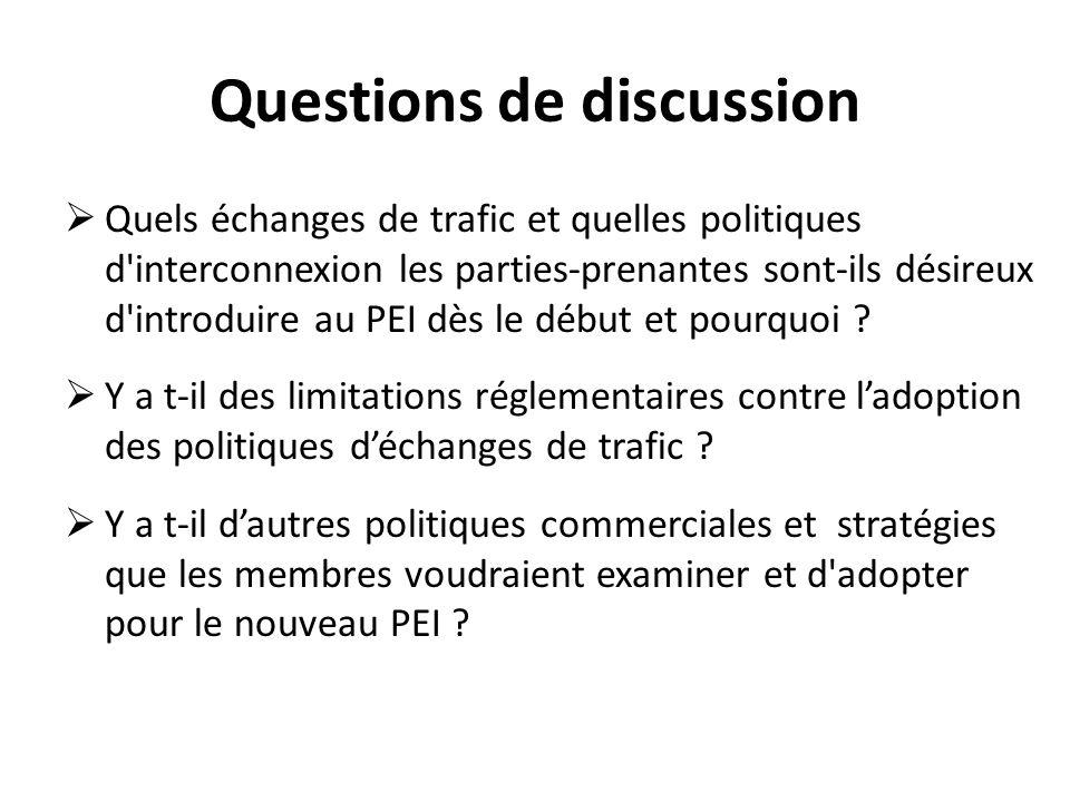 Questions de discussion Quels échanges de trafic et quelles politiques d interconnexion les parties-prenantes sont-ils désireux d introduire au PEI dès le début et pourquoi .