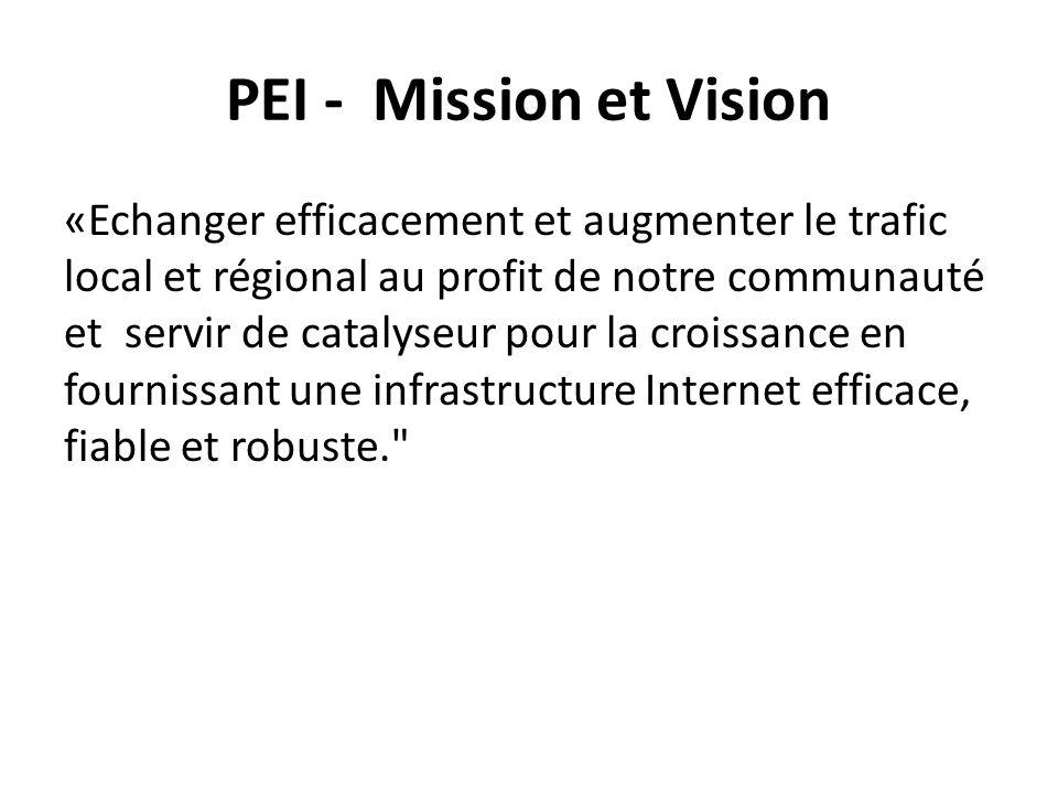 PEI - Mission et Vision «Echanger efficacement et augmenter le trafic local et régional au profit de notre communauté et servir de catalyseur pour la croissance en fournissant une infrastructure Internet efficace, fiable et robuste.