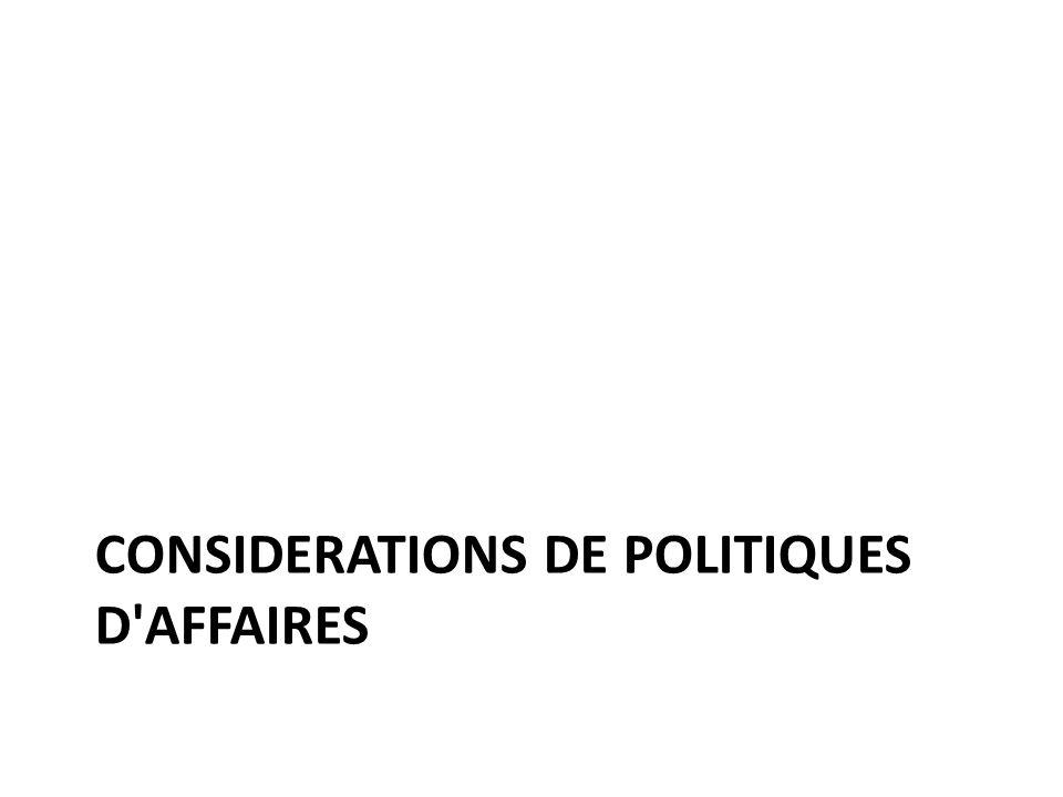 CONSIDERATIONS DE POLITIQUES D AFFAIRES