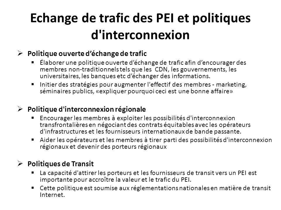 Accords sur les échanges de trafic des PEI Un accord de déchange de trafic est applicable à tous les membres qui choisissent déchanger au niveau dun PEI.