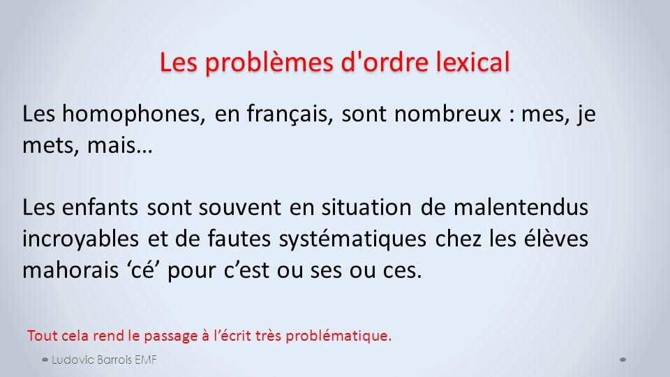 Les problèmes d'ordre lexical Ludovic Barrois EMF Les homophones, en français, sont nombreux : mes, je mets, mais… Les enfants sont souvent en situati