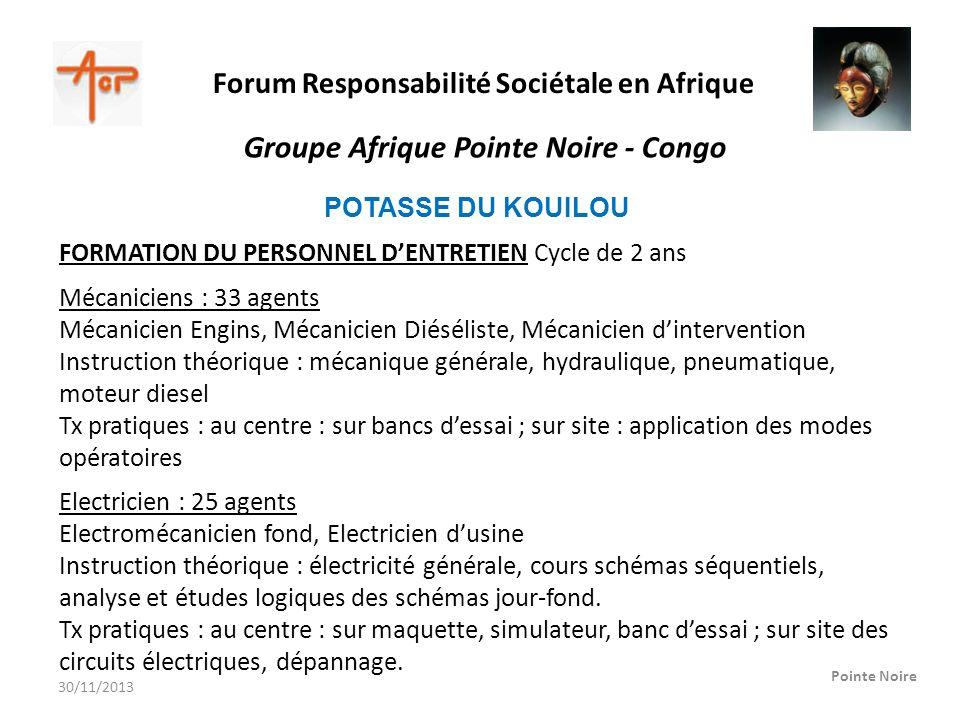 Forum Responsabilité Sociétale en Afrique Pointe Noire Groupe Afrique Pointe Noire - Congo POTASSE DU KOUILOU FORMATION DU PERSONNEL DENTRETIEN Cycle