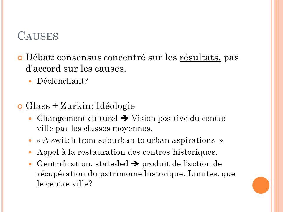 C AUSES Débat: consensus concentré sur les résultats, pas daccord sur les causes.