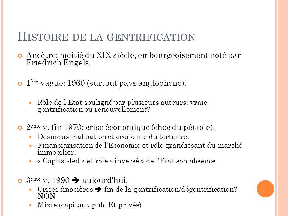 H ISTOIRE DE LA GENTRIFICATION Ancêtre: moitié du XIX siècle, embourgeoisement noté par Friedrich Engels.