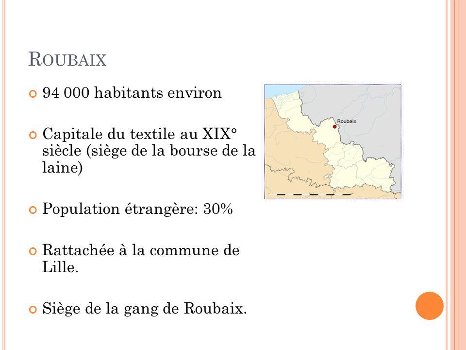 R OUBAIX 94 000 habitants environ Capitale du textile au XIX° siècle (siège de la bourse de la laine) Population étrangère: 30% Rattachée à la commune de Lille.