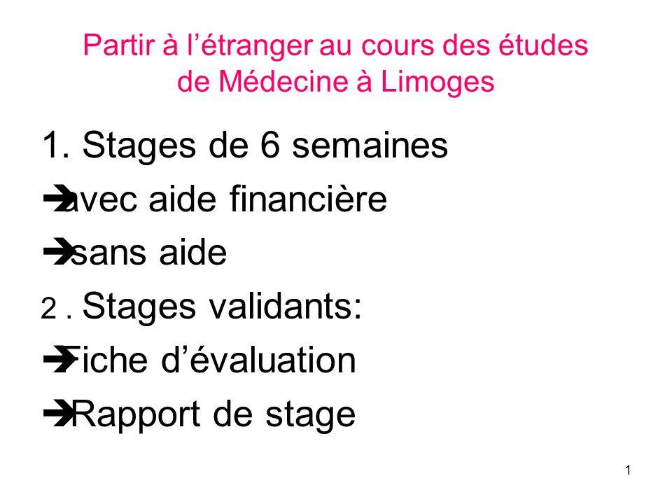 1 Partir à létranger au cours des études de Médecine à Limoges 1.