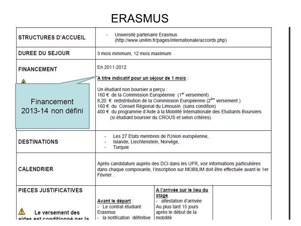 14 ERASMUS Financement 2013-14 non défini
