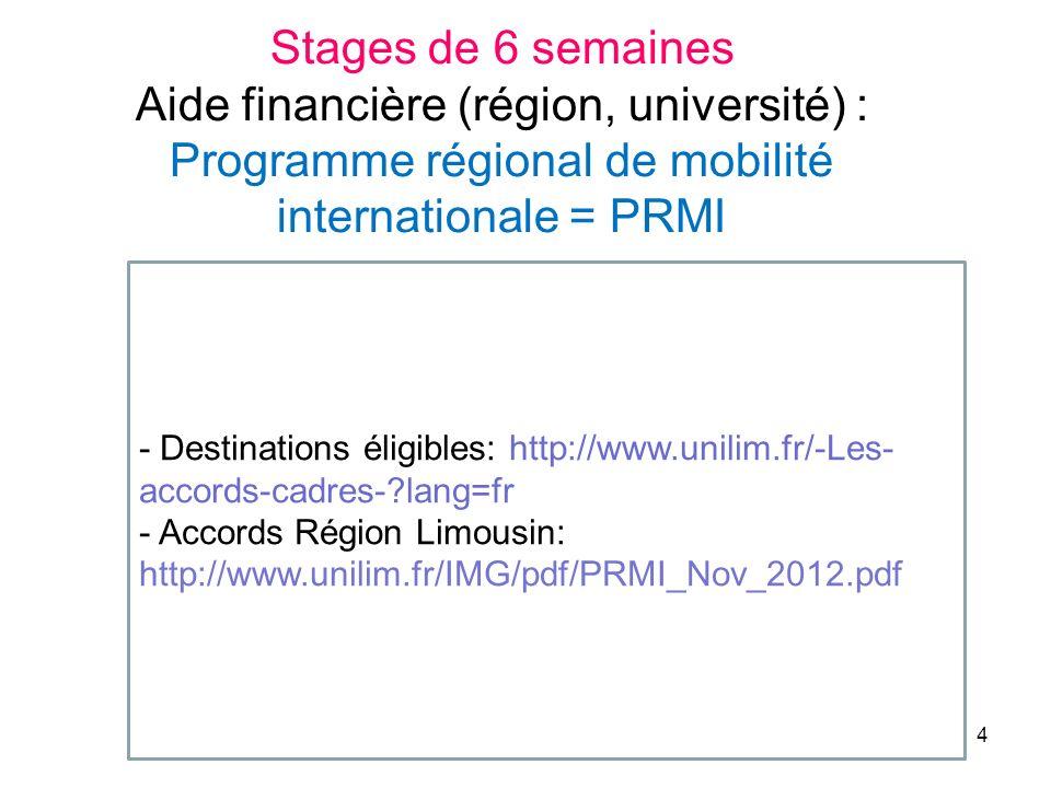 - Destinations éligibles: http://www.unilim.fr/-Les- accords-cadres-?lang=fr - Accords Région Limousin: http://www.unilim.fr/IMG/pdf/PRMI_Nov_2012.pdf Stages de 6 semaines Aide financière (région, université) : Programme régional de mobilité internationale = PRMI 4