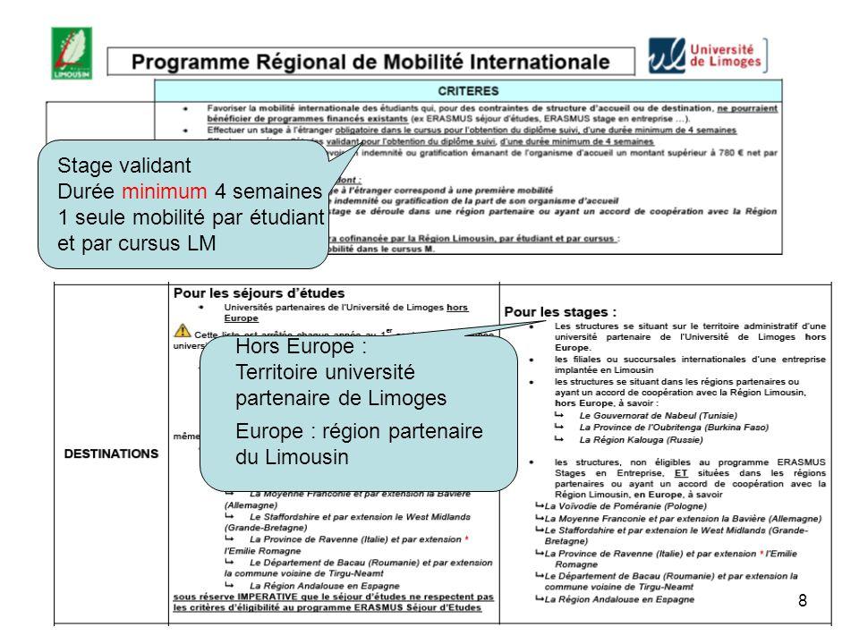 Hors Europe : Territoire université partenaire de Limoges Europe : région partenaire du Limousin Stage validant Durée minimum 4 semaines 1 seule mobilité par étudiant et par cursus LM 8