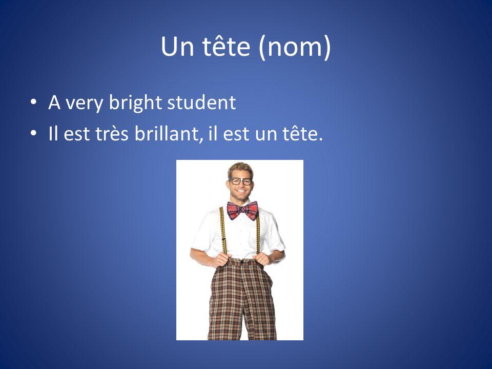Un tête (nom) A very bright student Il est très brillant, il est un tête.