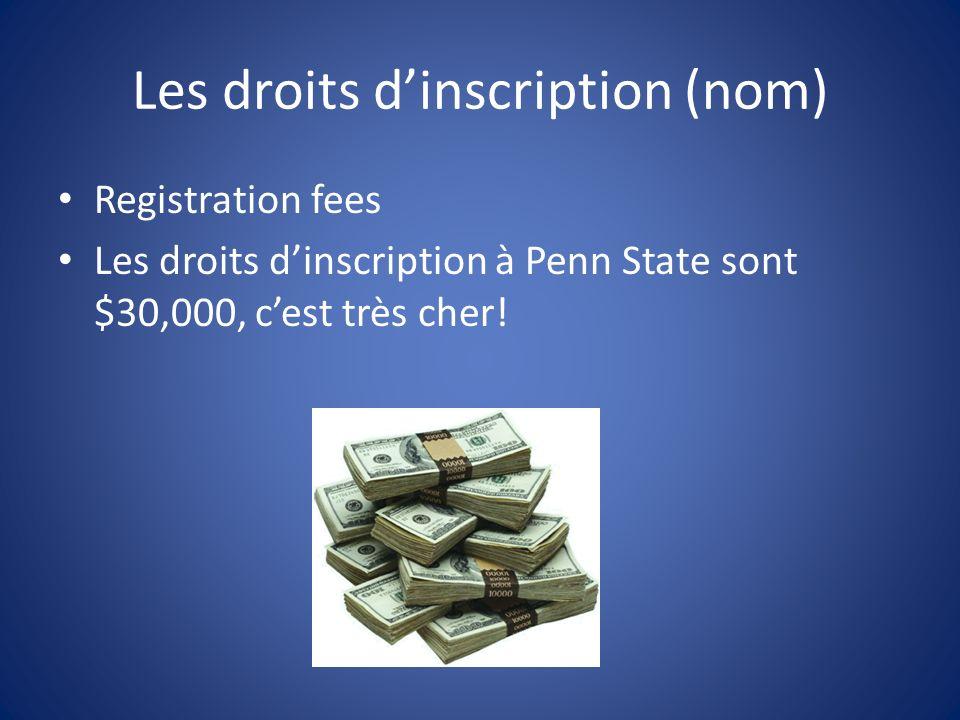 Les droits dinscription (nom) Registration fees Les droits dinscription à Penn State sont $30,000, cest très cher!