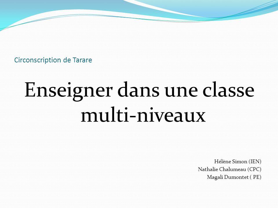 Circonscription de Tarare Enseigner dans une classe multi-niveaux Hélène Simon (IEN) Nathalie Chalumeau (CPC) Magali Dumontet ( PE)