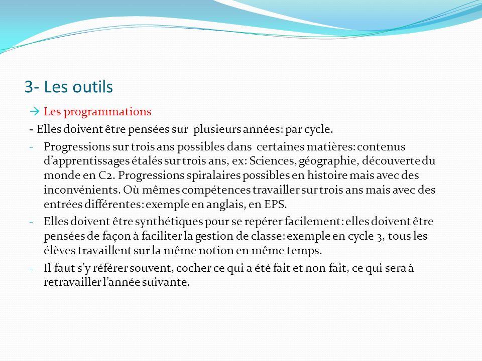 3- Les outils Les programmations - Elles doivent être pensées sur plusieurs années: par cycle. - Progressions sur trois ans possibles dans certaines m
