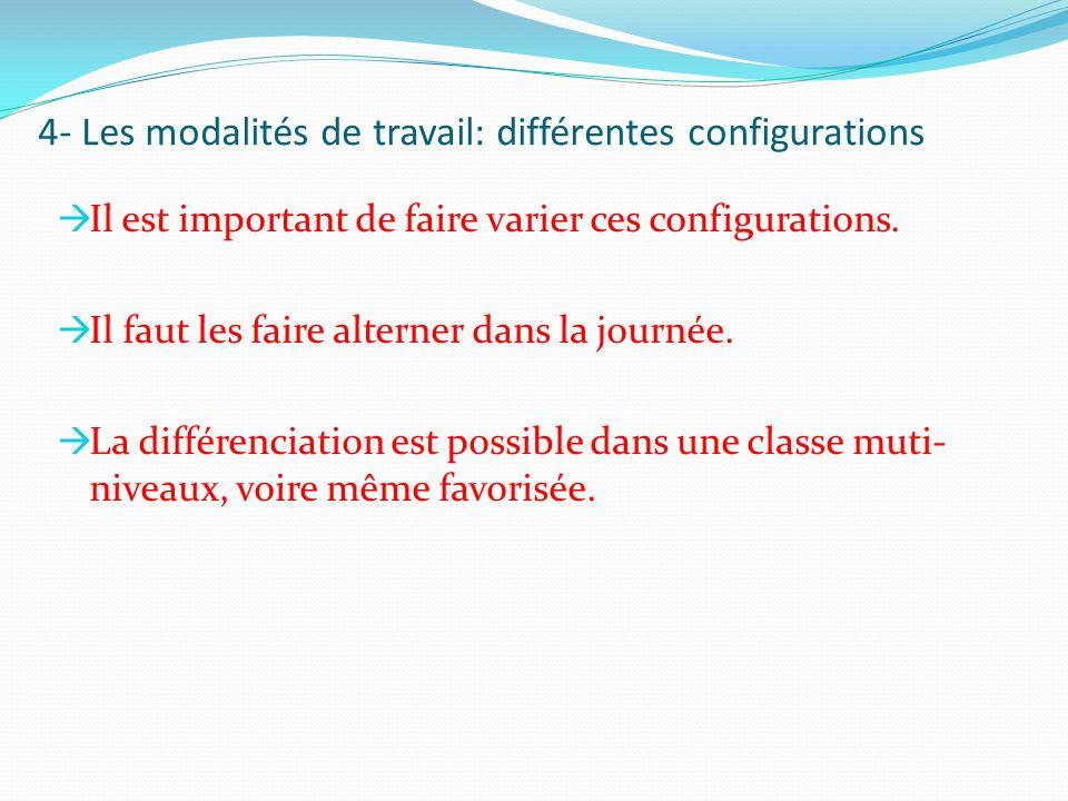 4- Les modalités de travail: différentes configurations Il est important de faire varier ces configurations. Il faut les faire alterner dans la journé