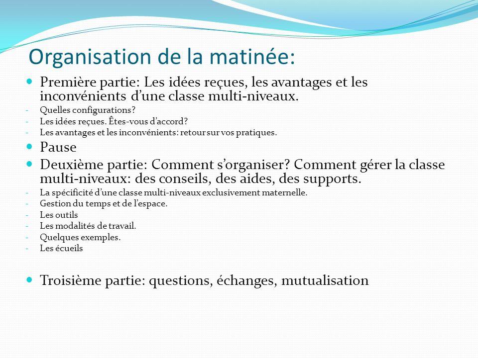 Organisation de la matinée: Première partie: Les idées reçues, les avantages et les inconvénients dune classe multi-niveaux. - Quelles configurations?