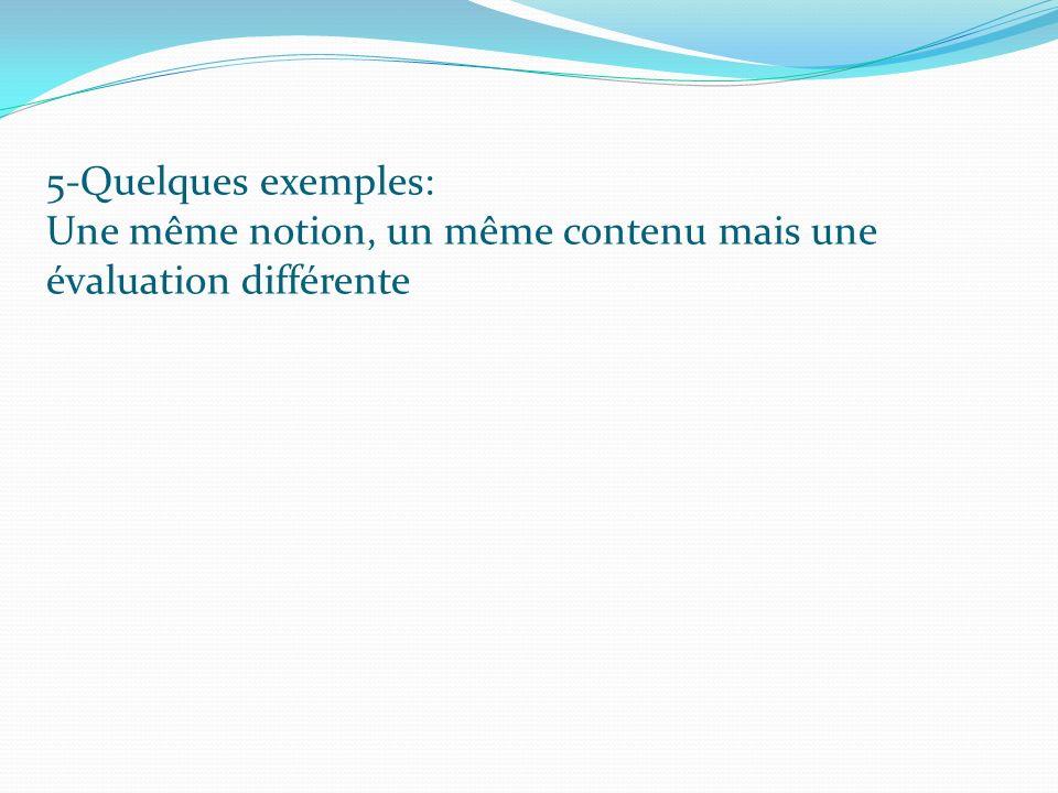5-Quelques exemples: Une même notion, un même contenu mais une évaluation différente