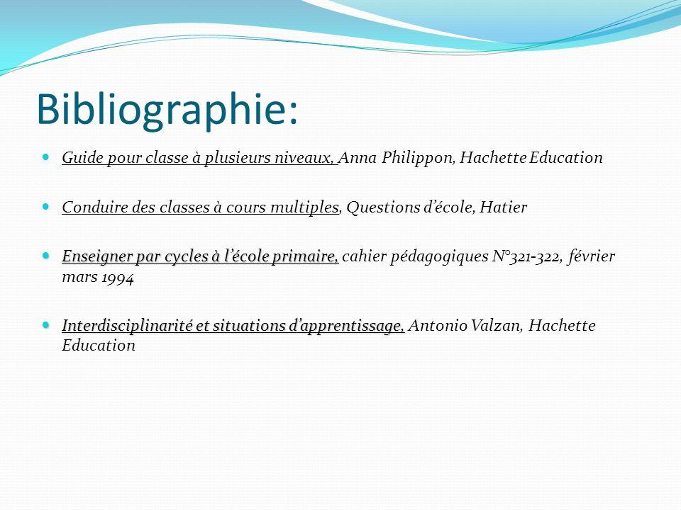 Bibliographie: Guide pour classe à plusieurs niveaux, Anna Philippon, Hachette Education Conduire des classes à cours multiples, Questions décole, Hat