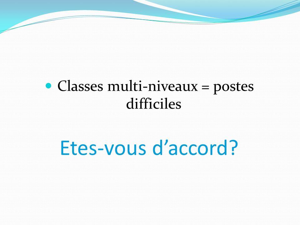 Classes multi-niveaux = postes difficiles Etes-vous daccord?