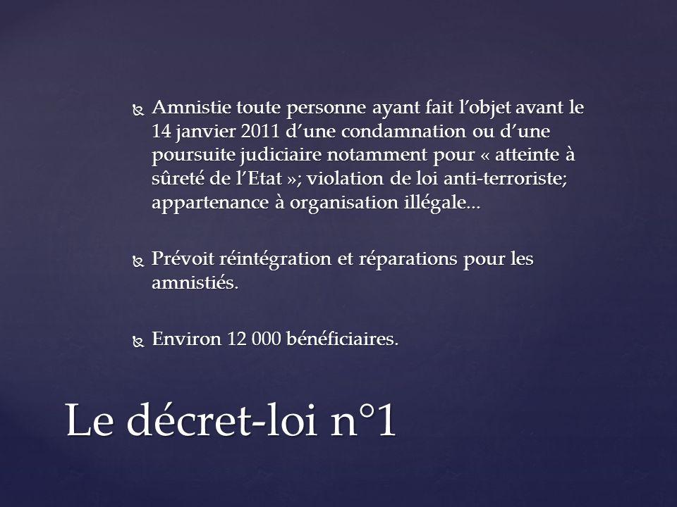 Amnistie toute personne ayant fait lobjet avant le 14 janvier 2011 dune condamnation ou dune poursuite judiciaire notamment pour « atteinte à sûreté de lEtat »; violation de loi anti-terroriste; appartenance à organisation illégale...