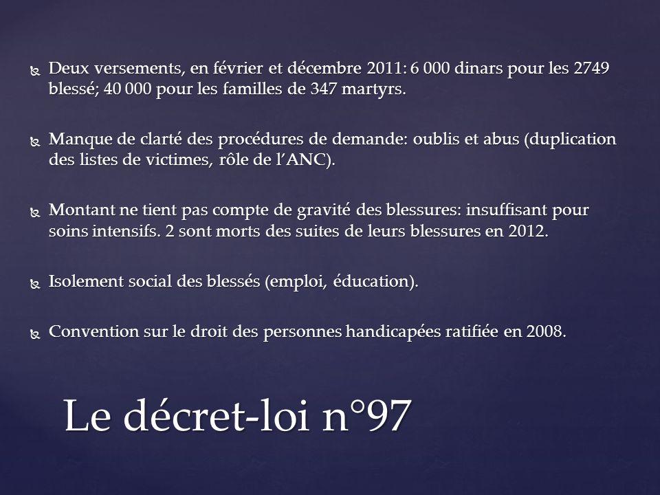 Deux versements, en février et décembre 2011: 6 000 dinars pour les 2749 blessé; 40 000 pour les familles de 347 martyrs.