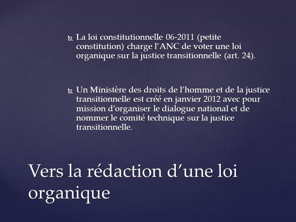 La loi constitutionnelle 06-2011 (petite constitution) charge lANC de voter une loi organique sur la justice transitionnelle (art.