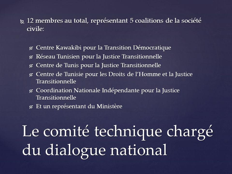 12 membres au total, représentant 5 coalitions de la société civile: 12 membres au total, représentant 5 coalitions de la société civile: Centre Kawakibi pour la Transition Démocratique Centre Kawakibi pour la Transition Démocratique Réseau Tunisien pour la Justice Transitionnelle Réseau Tunisien pour la Justice Transitionnelle Centre de Tunis pour la Justice Transitionnelle Centre de Tunis pour la Justice Transitionnelle Centre de Tunisie pour les Droits de lHomme et la Justice Transitionnelle Centre de Tunisie pour les Droits de lHomme et la Justice Transitionnelle Coordination Nationale Indépendante pour la Justice Transitionnelle Coordination Nationale Indépendante pour la Justice Transitionnelle Et un représentant du Ministère Et un représentant du Ministère Le comité technique chargé du dialogue national