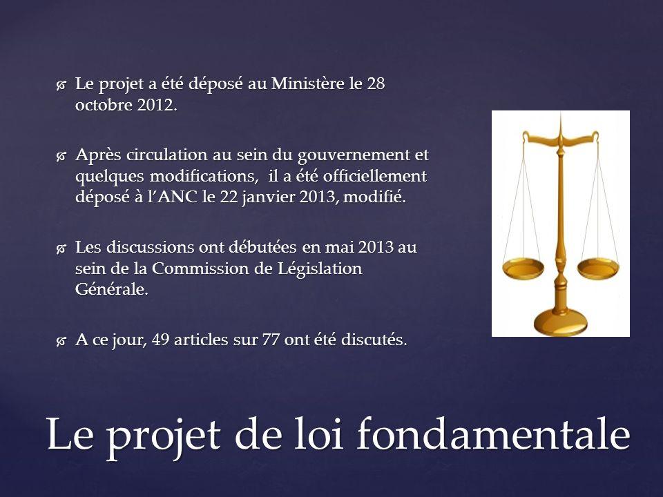 Le projet a été déposé au Ministère le 28 octobre 2012.