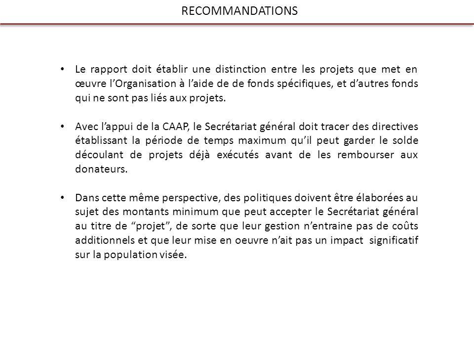 RECOMMANDATIONS Le rapport doit établir une distinction entre les projets que met en œuvre lOrganisation à laide de de fonds spécifiques, et dautres fonds qui ne sont pas liés aux projets.