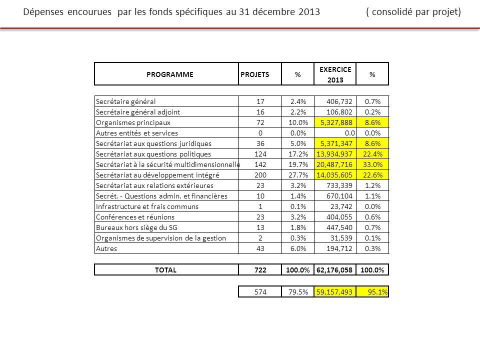 Dépenses encourues par les fonds spécifiques au 31 décembre 2013 ( consolidé par projet)