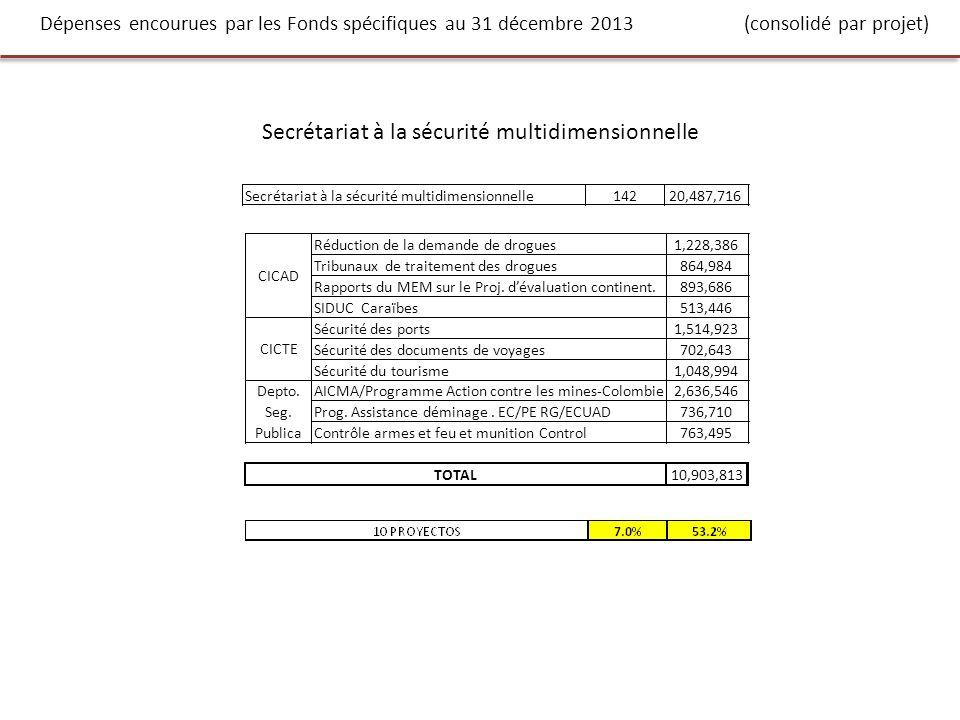 Dépenses encourues par les Fonds spécifiques au 31 décembre 2013 (consolidé par projet) Secrétariat à la sécurité multidimensionnelle 14220,487,716 Réduction de la demande de drogues1,228,386 Tribunaux de traitement des drogues864,984 Rapports du MEM sur le Proj.