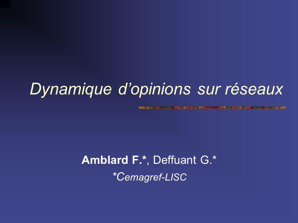 Dynamique dopinions sur réseaux Amblard F.*, Deffuant G.* *C emagref-LISC