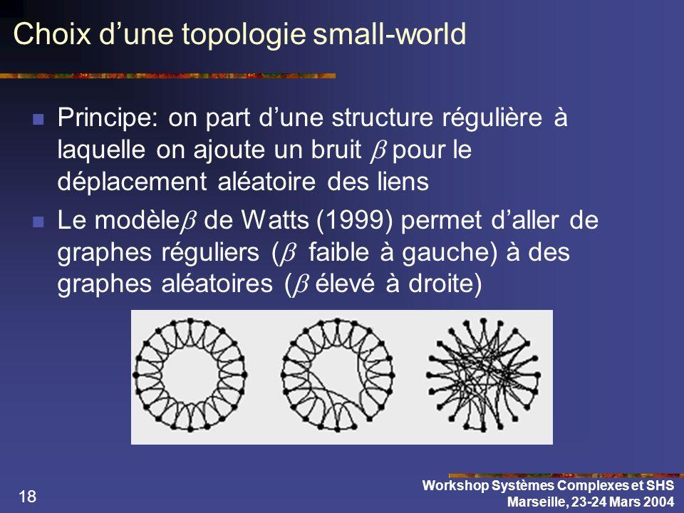 18 Choix dune topologie small-world Principe: on part dune structure régulière à laquelle on ajoute un bruit pour le déplacement aléatoire des liens L