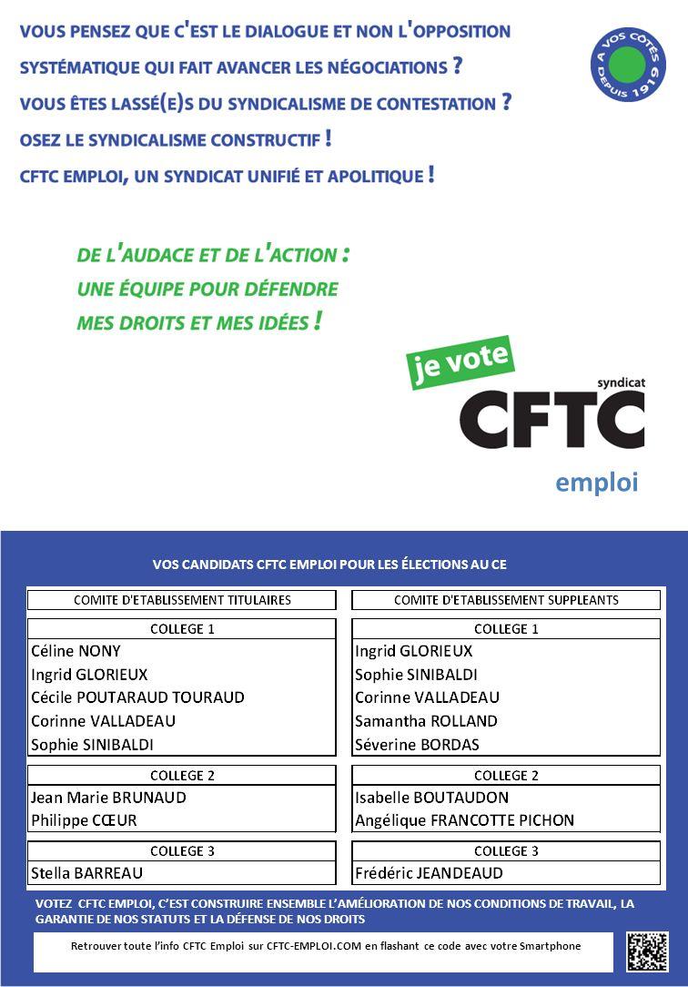 Retrouver toute linfo CFTC Emploi sur CFTC-EMPLOI.COM en flashant ce code avec votre Smartphone VOS CANDIDATS CFTC EMPLOI POUR LES ÉLECTIONS AU CE VOT