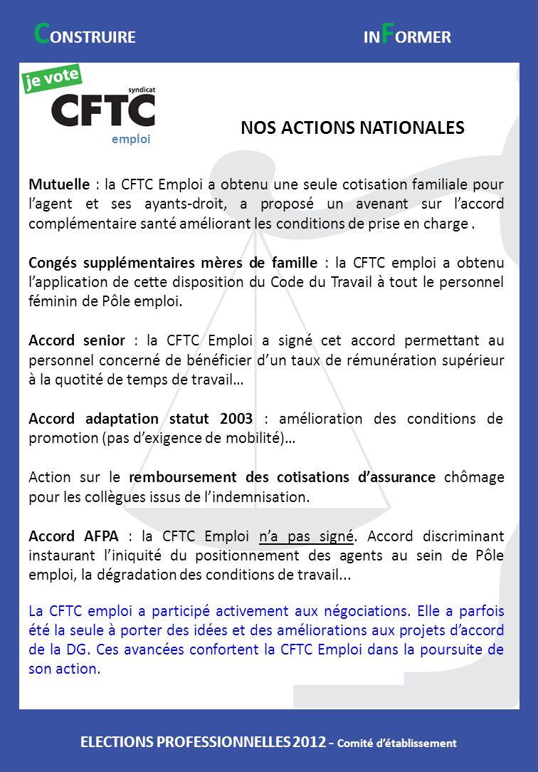ELECTIONS PROFESSIONNELLES 2012 - Comité détablissement NOS ACTIONS NATIONALES C ONSTRUIREIN F ORMER Mutuelle : la CFTC Emploi a obtenu une seule coti