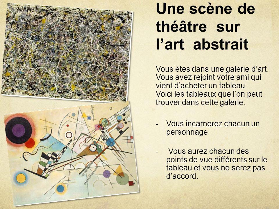 Une scène de théâtre sur lart abstrait Vous êtes dans une galerie dart. Vous avez rejoint votre ami qui vient dacheter un tableau. Voici les tableaux