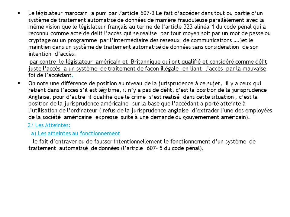 Le législateur marocain a puni par larticle 607-3 Le fait daccéder dans tout ou partie dun système de traitement automatisé de données de manière frau